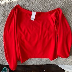 banana republic red off the shoulder blouse